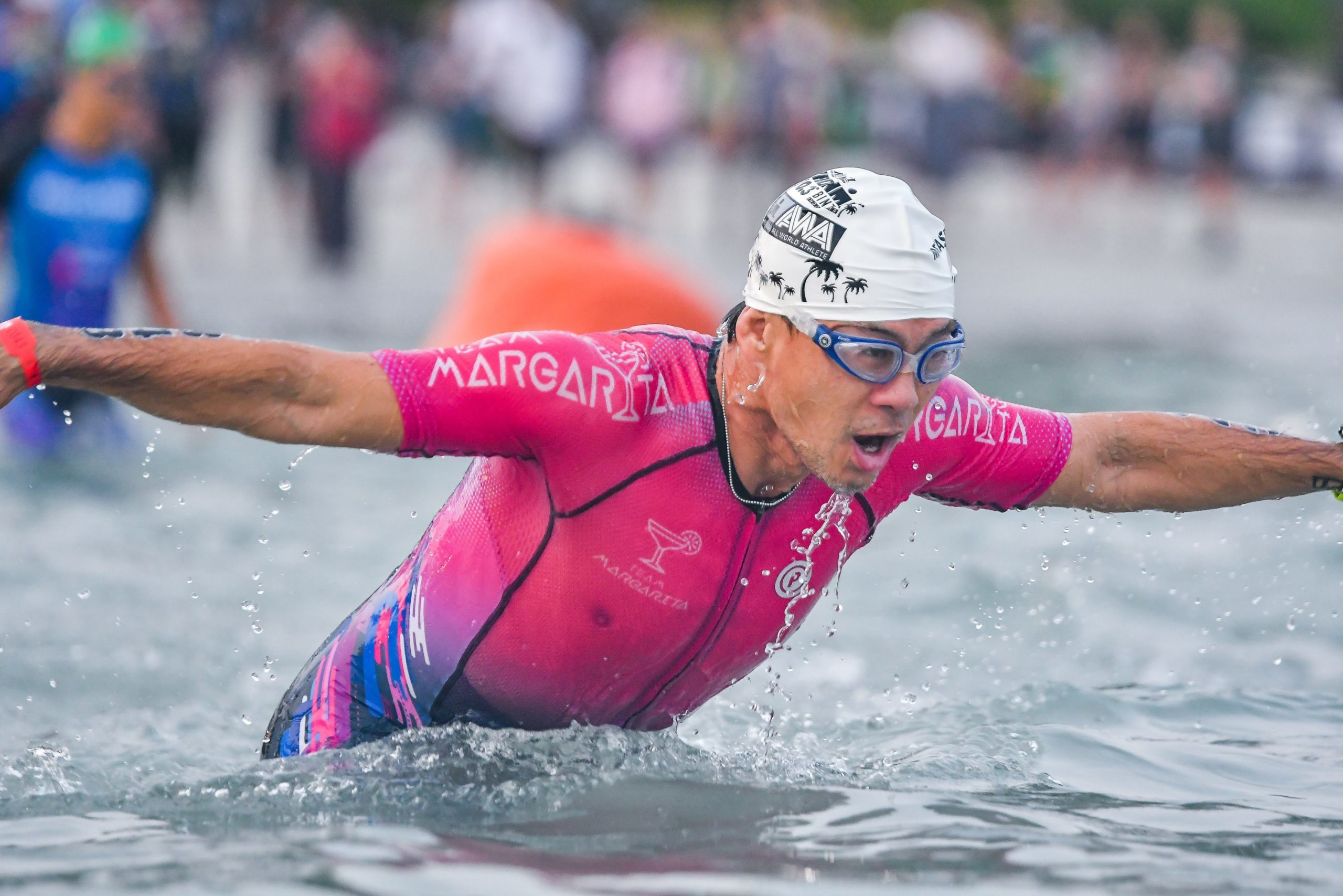 Swimmer wearing a Purpose tri suit