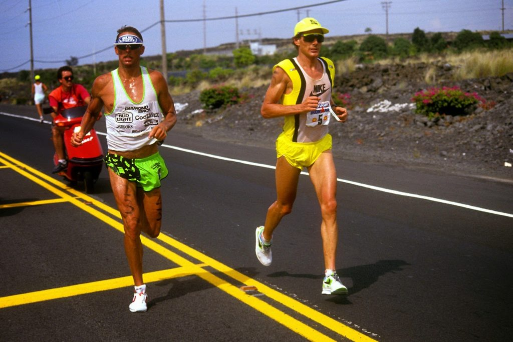 Dave Scott battling Mark Allen in Kona