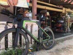 Bike in front of shop in Desaru, Malaysia